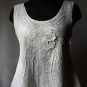 Одежда ручной работы. Ярмарка Мастеров - ручная работа Валяная блузка-топ Белая роза. Handmade.