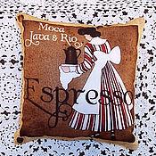 Для дома и интерьера ручной работы. Ярмарка Мастеров - ручная работа Кофейная подушечка. Handmade.