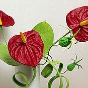 Цветы и флористика handmade. Livemaster - original item Interior composition from the skin Anthurium. Leather flowers. Handmade.