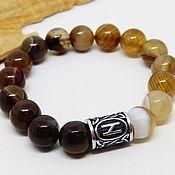 Украшения handmade. Livemaster - original item Agate Gradient bracelet with Hagalaz rune. Handmade.