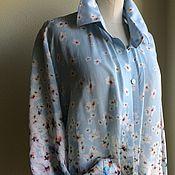 Блузки ручной работы. Ярмарка Мастеров - ручная работа Блуза-рубашка 2072 батист с шелком сакура. Handmade.