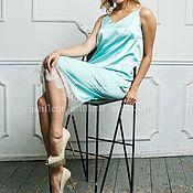 Одежда ручной работы. Ярмарка Мастеров - ручная работа Платье-комбинация в бельевом стиле мятное. Handmade.
