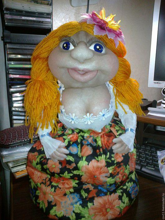 Коллекционные куклы ручной работы. Ярмарка Мастеров - ручная работа. Купить Кукла - грелка на чайник, текстильная. Handmade. Разноцветный