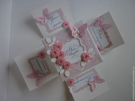 """Свадебные открытки ручной работы. Ярмарка Мастеров - ручная работа. Купить Свадебная коробочка для денег """"Розовое облако"""". Handmade. Розовый"""