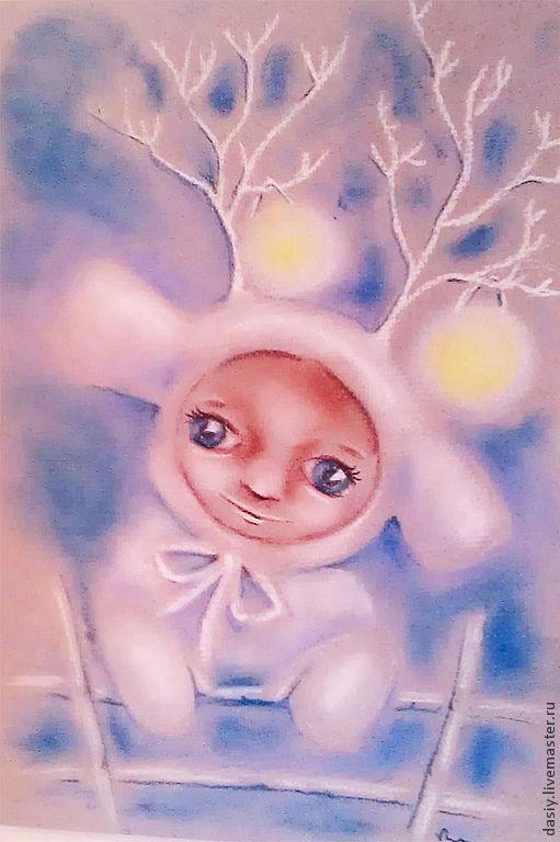 """Фантазийные сюжеты ручной работы. Ярмарка Мастеров - ручная работа. Купить Картина пастелью """"В гости на Новый год"""". Handmade."""
