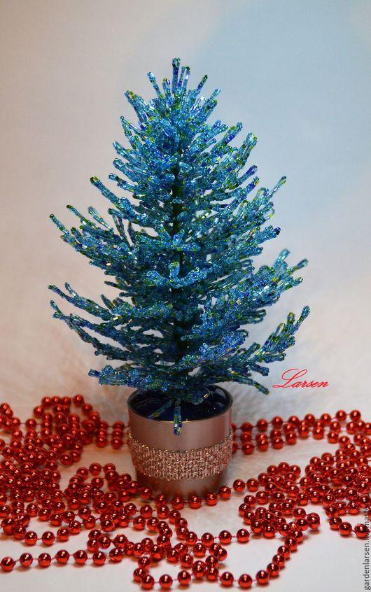 Деревья ручной работы. Ярмарка Мастеров - ручная работа. Купить Голубая ель к Новому году.. Handmade. Голубой, бисерные деревья