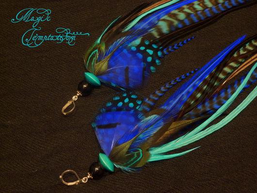 Серьги ручной работы. Ярмарка Мастеров - ручная работа. Купить Сине-голубые серьги из перьев. Handmade. Голубой, серьги с перьями