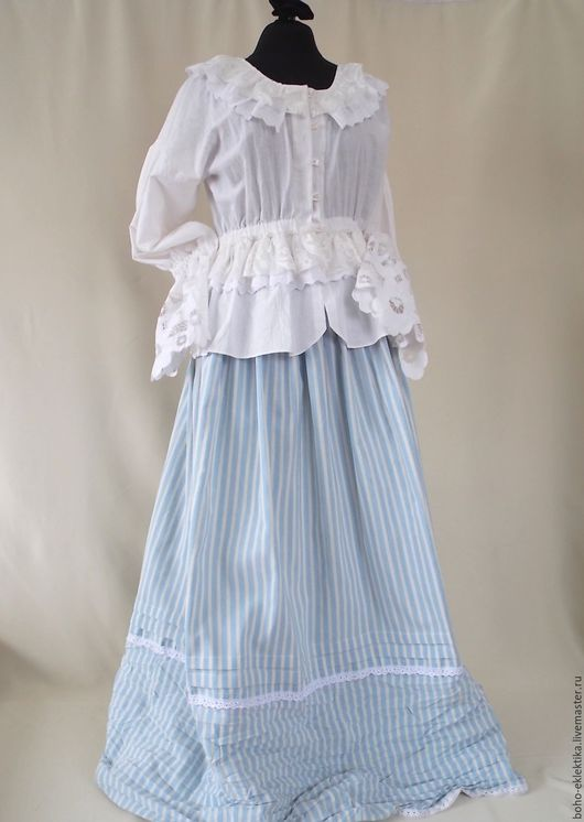"""Блузки ручной работы. Ярмарка Мастеров - ручная работа. Купить Комплект """"Прованс"""" из блузки бохо и длинной юбки из полосатого хлопка. Handmade."""