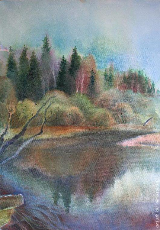 """Пейзаж ручной работы. Ярмарка Мастеров - ручная работа. Купить Картина """"Весенняя река"""". Handmade. Серый, пейзаж, весна, река"""