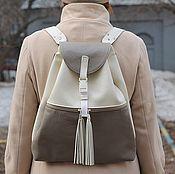 handmade. Livemaster - original item Urban Backpack made of genuine leather with tassels beige Milk. Handmade.