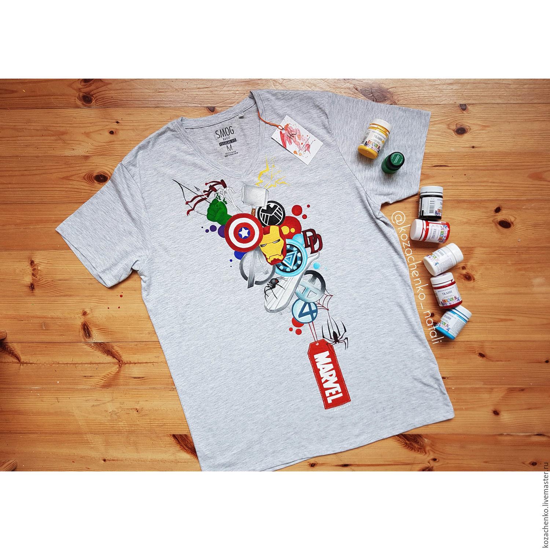Hand painted marvel t-shirt, T-shirts, Kaliningrad,  Фото №1