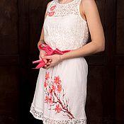 Одежда ручной работы. Ярмарка Мастеров - ручная работа Платье кружевное Сакура хлопок белое. Handmade.