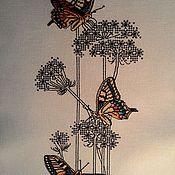 """Картины ручной работы. Ярмарка Мастеров - ручная работа Вышивка """"Бабочки на белом 3""""серия:бабочки. Handmade."""