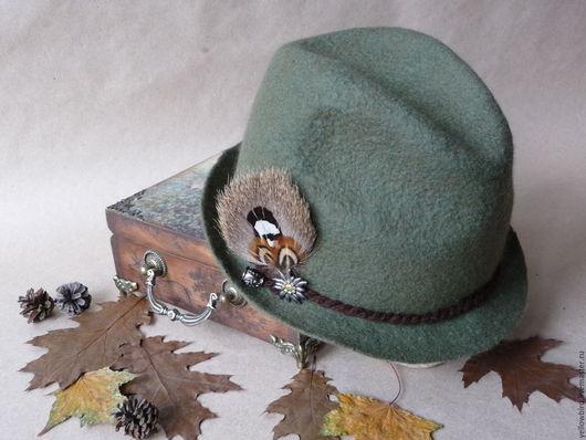Шляпы ручной работы. Ярмарка Мастеров - ручная работа. Купить Шляпа в тирольском стиле Grunwald. Handmade. Хаки, Шляпа валяная