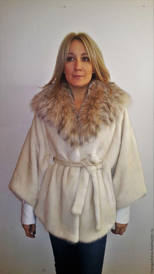 Верхняя одежда ручной работы. Ярмарка Мастеров - ручная работа. Купить Норковая шуба, капюшон мех рыси. Handmade. Белый