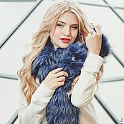 Аксессуары handmade. Livemaster - original item Raccoon fur collar in blue. Handmade.