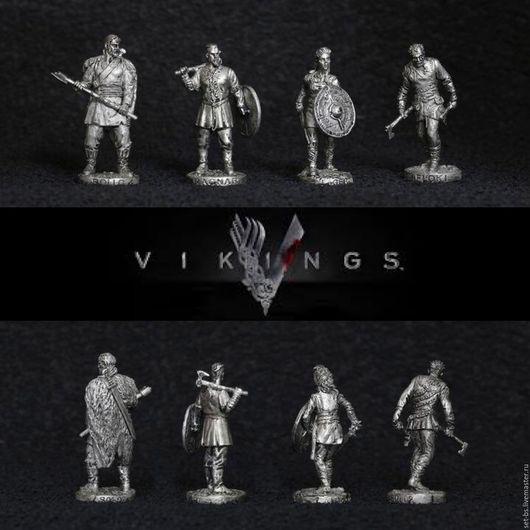 Миниатюра ручной работы. Ярмарка Мастеров - ручная работа. Купить 4 викинга в олове. Handmade. Серебряный, лагерта, vikings, олово