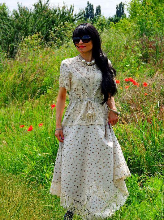 Платья ручной работы. Ярмарка Мастеров - ручная работа. Купить БОХО платье из льна и кружева (№154). Handmade. Комбинированный