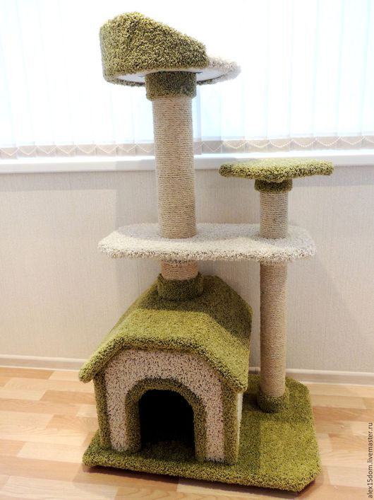 """Аксессуары для кошек, ручной работы. Ярмарка Мастеров - ручная работа. Купить Комплекс для кошек """"Гармония"""" оливковый. Handmade. Для кошек"""