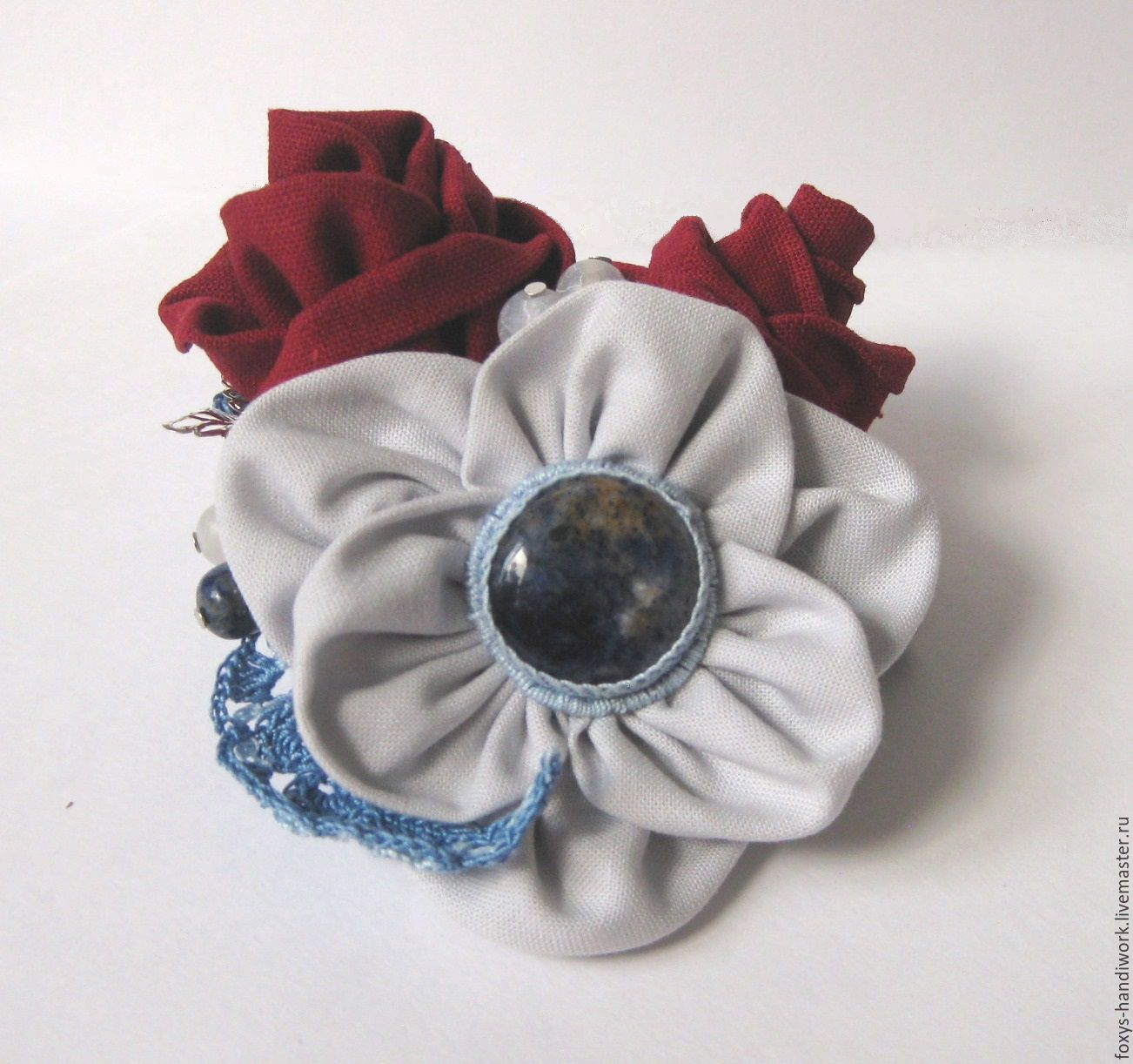 Brooch-barrette textile with natural stones, Brooches, Tula,  Фото №1