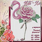 Материалы для творчества handmade. Livemaster - original item Pink flamingos. Design in machine embroidery. Handmade.