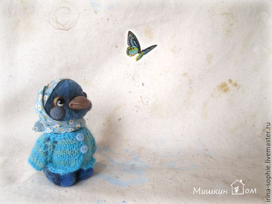 Мишки Тедди ручной работы. Ярмарка Мастеров - ручная работа. Купить Синяя птица. Тедди.. Handmade. Синий, птичка, тедди