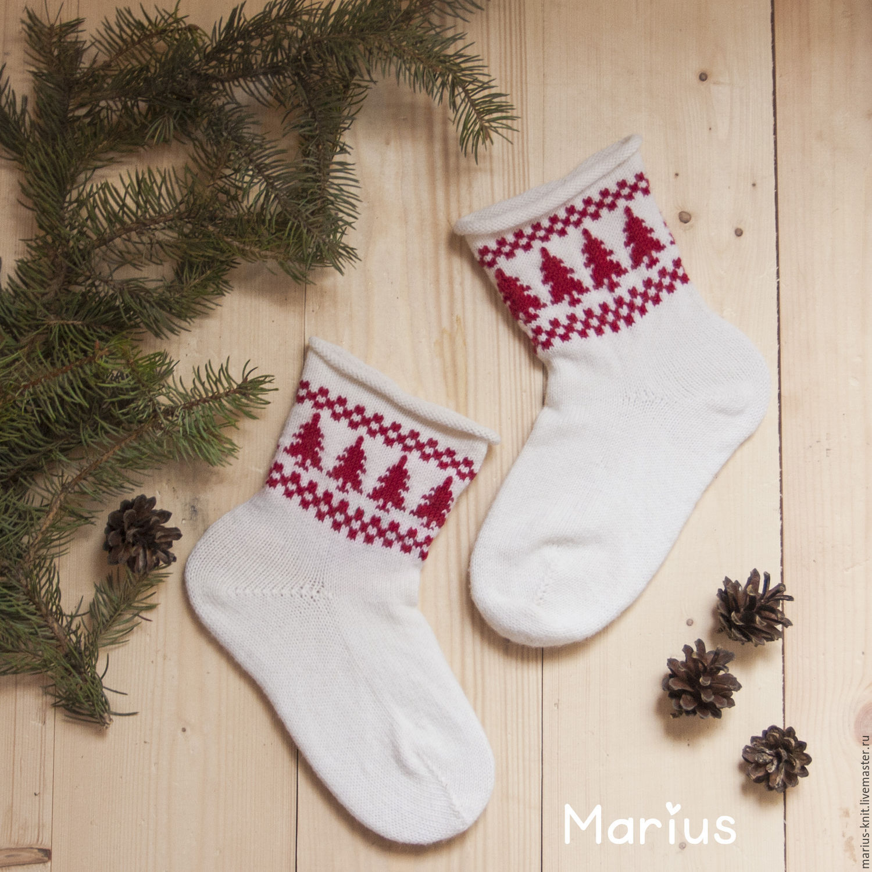 вязаные шерстяные носки новогоднее чудо с орнаментом купить в