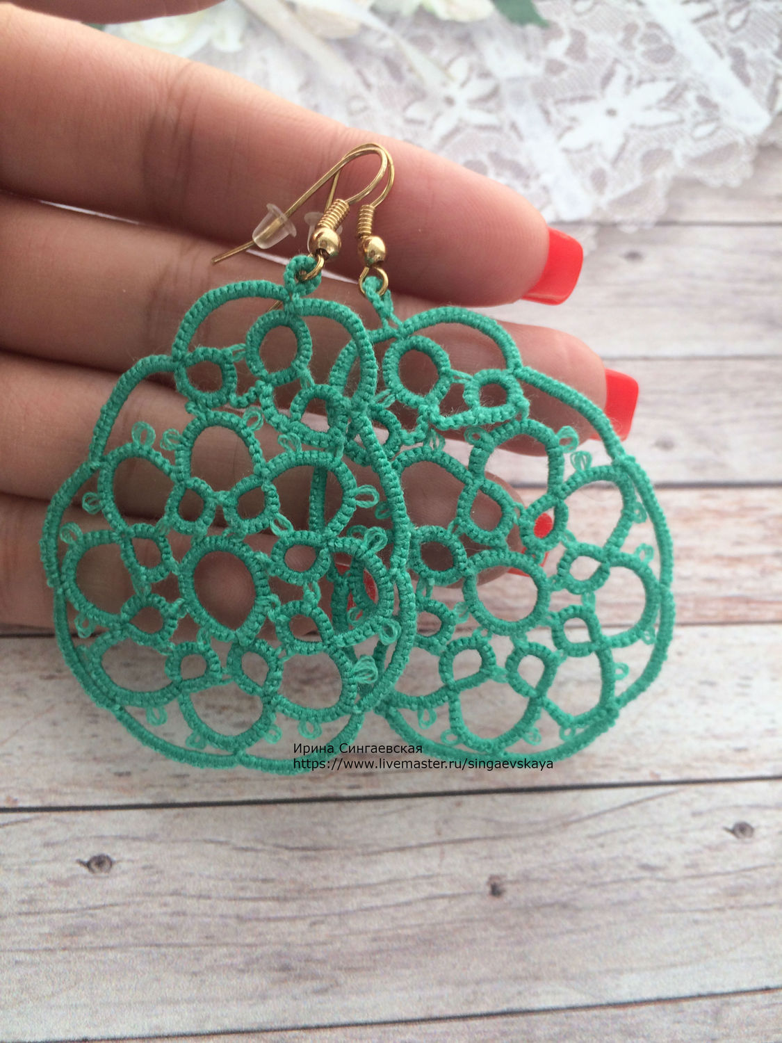 Earrings handmade. Livemaster - handmade. Buy Tatting lace earrings Mint.Gift, bright accessory, prom, buy lace earrings