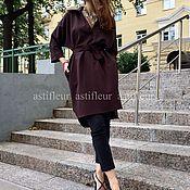 """Одежда ручной работы. Ярмарка Мастеров - ручная работа Свободное платье на каждый день """"Птичка на проводе"""" темный шоколад. Handmade."""