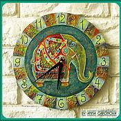 """Для дома и интерьера ручной работы. Ярмарка Мастеров - ручная работа Часы расписные """"Слон Сигизмунд"""". Handmade."""