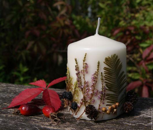 """Свечи ручной работы. Ярмарка Мастеров - ручная работа. Купить Свеча """"В осеннем лесу"""". Handmade. Зеленый, свеча с травами"""