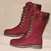 handmade. Livemaster - original item Women`s felted boots with fur trim. Handmade.