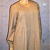 Одежда ручной работы. Ярмарка Мастеров - ручная работа Платье из тонкой шерсти (бежевое). Handmade.