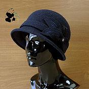 Аксессуары ручной работы. Ярмарка Мастеров - ручная работа Стильная дамская шляпка букле. Тёмно-синяя.. Handmade.