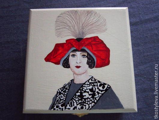 Шкатулки ручной работы. Ярмарка Мастеров - ручная работа. Купить Шкатулка Дама в красной шляпе. Handmade. Белый, модерн
