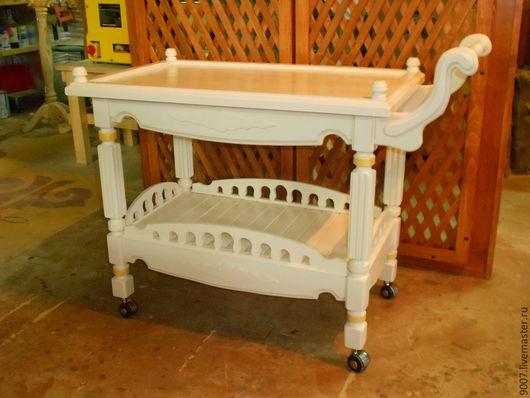 Мебель ручной работы. Ярмарка Мастеров - ручная работа. Купить сервировочный стол тележка. Handmade. Белый, ретро стиль, резьба