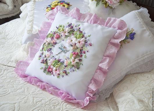"""Текстиль, ковры ручной работы. Ярмарка Мастеров - ручная работа. Купить Декоративная подушка """"Apple blossom"""". Handmade. Бледно-розовый"""