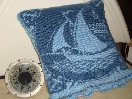 Текстиль, ковры ручной работы. Ярмарка Мастеров - ручная работа. Купить Чехол на подушку В нашу гавань заходили корабли. Handmade.