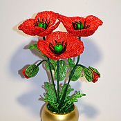 Цветы и флористика handmade. Livemaster - original item Beaded flowers Poppies. Handmade.