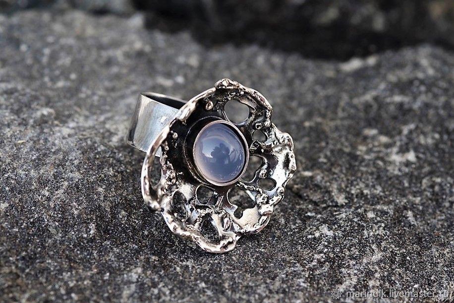 """Броши ручной работы. Ярмарка Мастеров - ручная работа. Купить """"Aqua vita"""" - кольцо серебряное. Handmade. Голубой, крупное кольцо"""