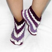 Вязаные тапочки-следки, вязаные носочки
