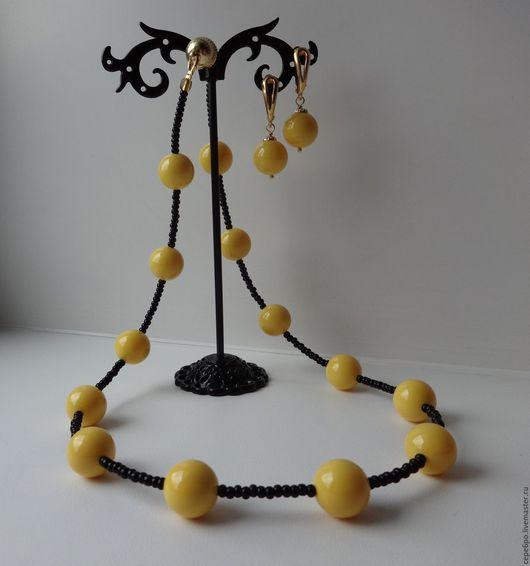 1. Ожерелье `Желтые шары`, цена 880р.  Серьги к ожерелью `Желтые шары`, цена 480р.