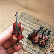 Украшения ручной работы. Ярмарка Мастеров - ручная работа Брошь-скрипка. Handmade.