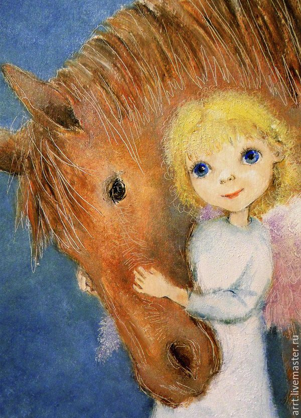 Angel with horse greeting Card for all occasions, Cards, St. Petersburg,  Фото №1