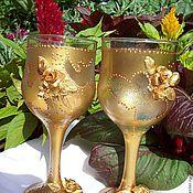 Свадебный салон ручной работы. Ярмарка Мастеров - ручная работа Фужеры свадебные Сияние золота. Handmade.