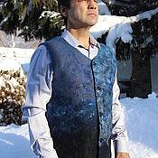 Мужская одежда handmade. Livemaster - original item Felted men`s vest Blue. Handmade.