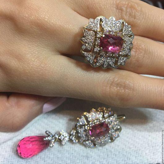 Комплекты украшений ручной работы. Ярмарка Мастеров - ручная работа. Купить Diamond Rococo. Серьги и кольцо с бриллиантами и рубинами. Handmade.