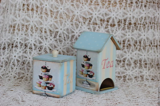 Кухня ручной работы. Ярмарка Мастеров - ручная работа. Купить Набор для кухни Чайный домик и короб декупаж. Handmade. Голубой