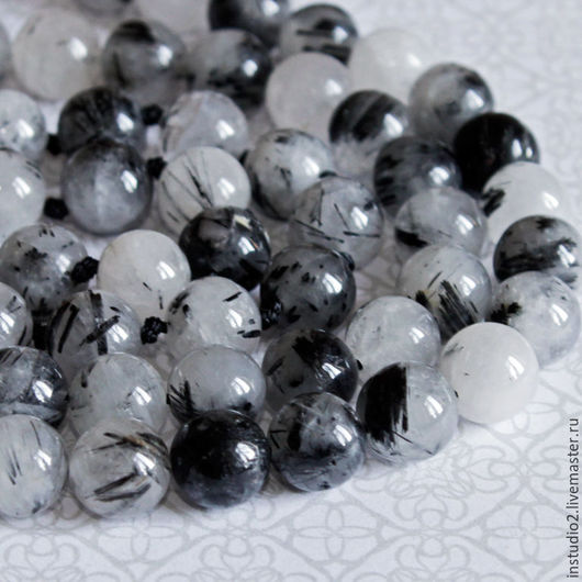 Для украшений ручной работы. Ярмарка Мастеров - ручная работа. Купить Кварц с турмалином 10 мм шар - бусины камни для украшений. Handmade.