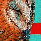 Картины ручной работы. Ярмарка Мастеров - ручная работа Сова - Сипуха 5 - Картина в смешанной технике. Handmade.